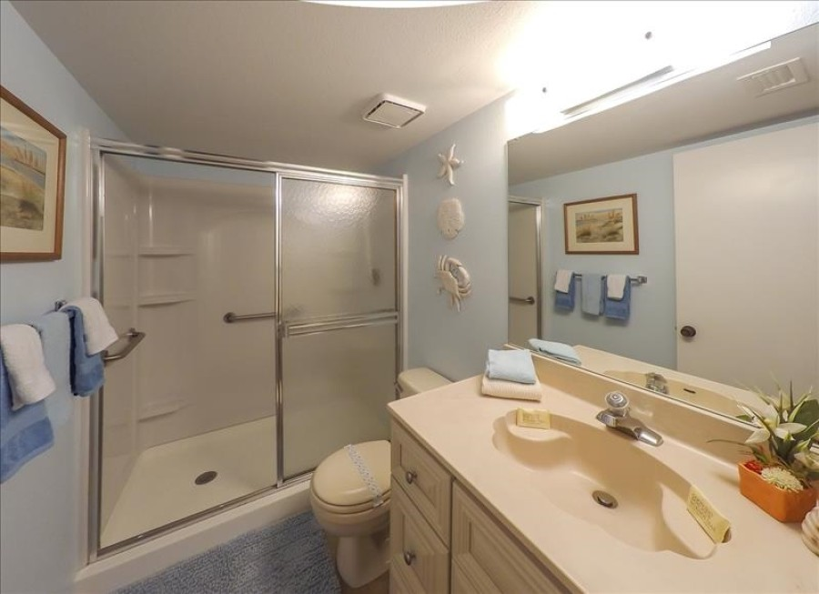 Bathroom with step in shower