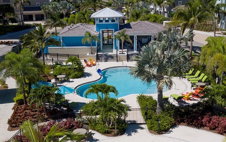 Aerial pool area