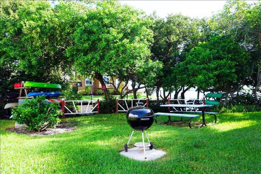 Backyard picnic and canoe launch