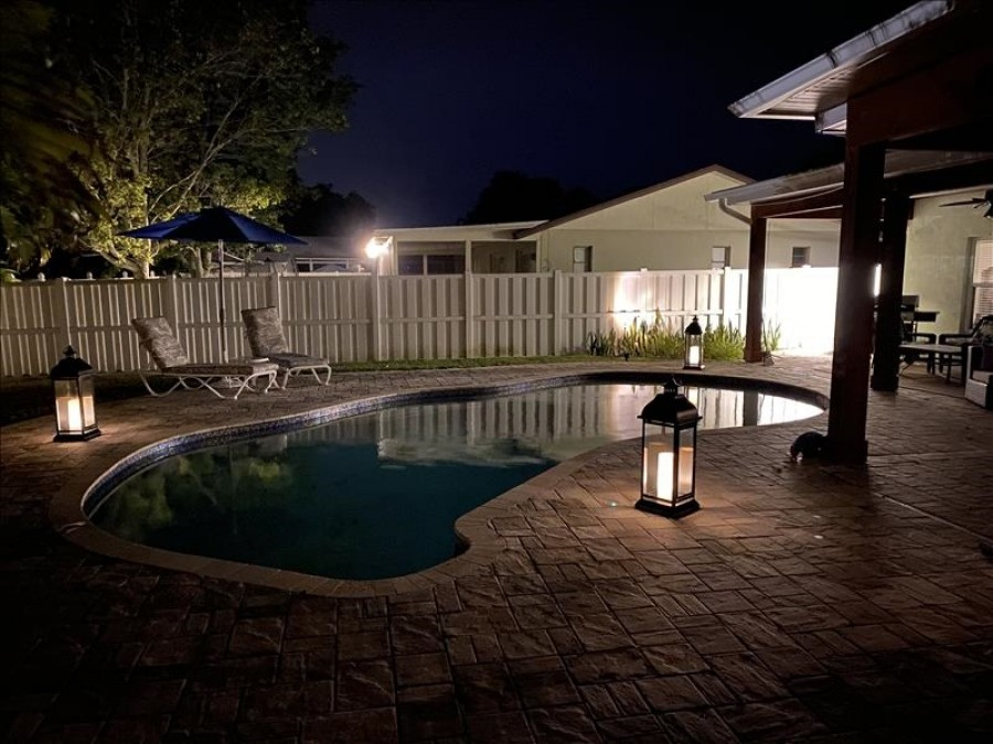Outdoor lighting around the pool